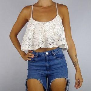 NWT Lovers + Friends ivory crochet crop bra top